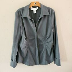 Doncaster Button Up Lightweight Blazer Black Long Sleeves Size 14 Cinched Detail