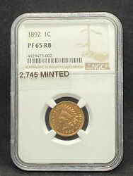 1892 Indian Head Cent Penny Ngc Pf 65 Rb / Pr 65 Rb Red / Brown Proof Certified
