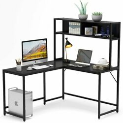 Tribesigns L-shaped Desk With Hutch 55 Inches Corner Computer Desk Gaming Table