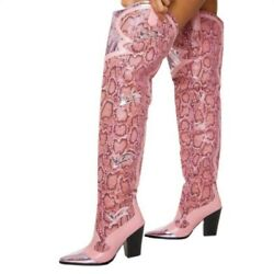 Women's Pointy Toe Snakeskin Print Over Knee High Boots Block Heel Shoes 35/43 L