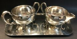 Hunt Silver Co Sterling Silver Tray Creamer And Sugar Bowl