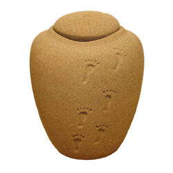 Footprints in the sand Recycled Material Biodegradable Cremation Urn - Large