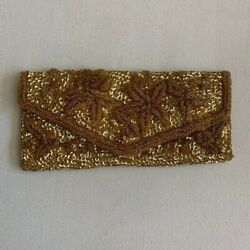 Vintage Gold Sequined and Beaded Clutch Evening Bag with Satin Lining $15.99
