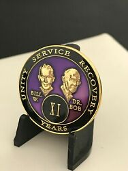 11 Year Purple Bill And Bob Aa Medallion -- Alcoholics Anonymous Chip