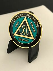 11 Year Blue Black And Gold Aa Medallion -- Alcoholics Anonymous Chip