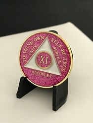 11 Year Pink Sparkle Aa Medallion -- Alcoholics Anonymous Chip