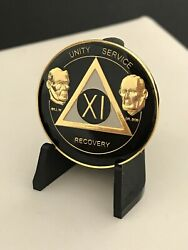 11 Year Black And Gold Bill And Bob Aa Medallion -- Alcoholics Anonymous Chip