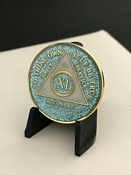 11 Year Blue Sparkle Aa Medallion -- Alcoholics Anonymous Chip