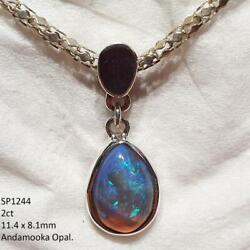 Opal Pendant Necklace 925 Sterling Silver Natural Solid Australian Jewelry Spy