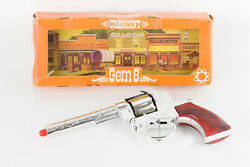 Vintage 60and039s Rare Cap Gun Toy Crescent Gem 8 Revolver Cowboy 7.5and039and039 Metal England