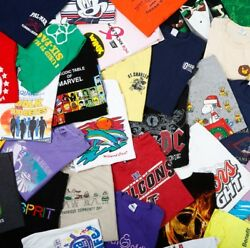 Lot Of 10 Random Menand039s Graphic Tees T-shirts All Size Small