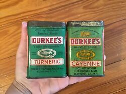 2 Vintage 1930s/40s Durkee's Green Spice Tins Turmeric And Cayenne