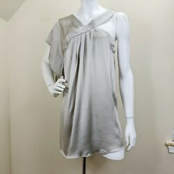Yigal Azrouel Mini Dress Sz 4 Silk Grecian One Sleeve Pewter Evening Short $44.99