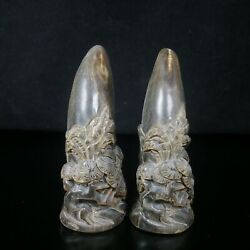 Natural Old  Ox Horn Pure Hand Carving Ox Horn Tip Statue