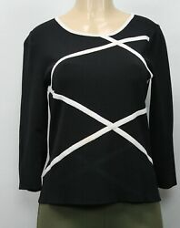 Cable & Gauge Women's Knit Top Sweater 34 Sleeve Black Size L $12.00