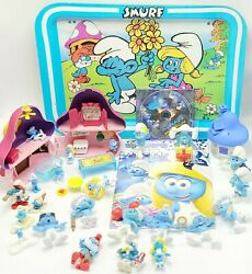 Vintage Smurfs Lot Tv Tray Figures Playset Movie Dvd Smurfy Hollow Toys Poster