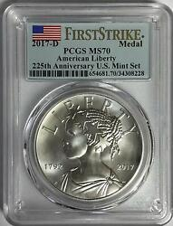 2017 D First Strike American Liberty 225th Anniversary Silver Medal Pcgs Ms70