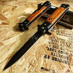 8.75quot; STILETTO FOLDING POCKET KNIFE Wooden SPRING ASSISTED OPEN BLACK BLADE