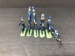 6 Vintage Metal Army Civil War Union Toy Soldiers Figurines Hand Painted Guc