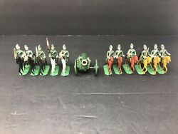 Vintage Metal Army Toy Soldiers War Horses Cavalry Canon Hand Painted Figurines