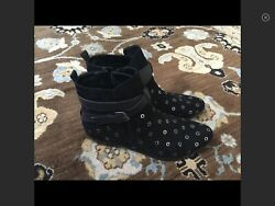 Design Lab Lord & Taylor Black Leather Ankle  Boots Size 10 $11.00