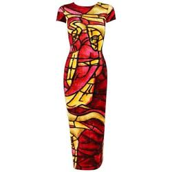 Christian Dior C.1990and039s John Galliano Stained Glass Print Velvet Bodycon Dress