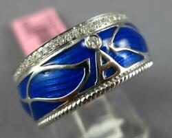Wide .30ct Diamond And Blue Enamel 18k White Gold A Initial Multi Leaf Etoile Ring