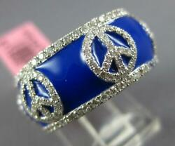 Wide 1.40ct Diamond And Blue Enamel 18kt White Gold Multi Peace Sign Eternity Ring
