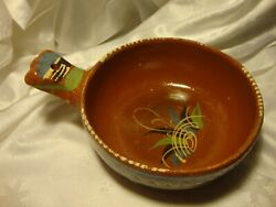 True Vintage Handmade Hand-painted Burnt Red Clay Pottery Skillet Bowl    407