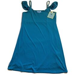 NWT Nordstrom Rack CeCe Size S Teal Lined Ruffle Strap Slip Dress Retail $99 $46.00