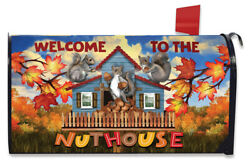 Welcome To The Nut House Squirrels Magnetic Mailbox Wrap Cover Standard Size