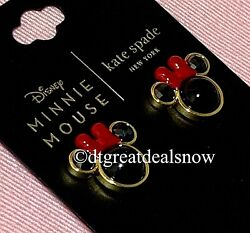 NEW Kate Spade Disney for Minnie Mouse Studs Earrings Black Red Gold Tone $49.98