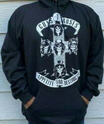 Guns And Roses Croos W Hoodies Punk Rock Black Menand039s Sizes