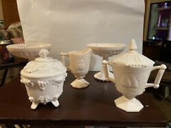 Vintage Jeanette Pink Milk Glass, 2 Compotes, Cream And Sugar Bowl