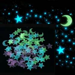 US 100Pcs Glow in The Dark 3D Moon Stars Stickers Decal Ceiling Wall Bedroom DIY
