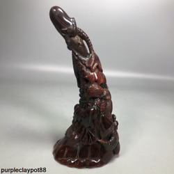 Nongovernmental Collection Ox Horn Hand Carving Lotus Fish Ox Horn Tip