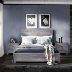 Rustic Platform Bed Frame Full Size With Headboard Bedroom Decor Solid Wood Grey