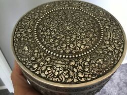 Silver Box 1920andrsquos Vietnam/cambodia 3.6 Pounds Troy. Solid Silver.7 1/2 Andldquo Dia.