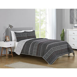 Full/queen Or King Geometric Reversible Quilt And Sham Bedding Set Black White Red