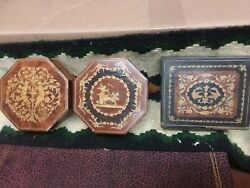 Small Hexagon And Rectangular Antique Jewelry Boxes With Inlay Detail On Lids