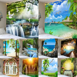 Hawaii Beach Scenery Waterfall Tapestry Wall Hanging Posters Decorative Painting