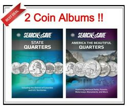 2 Whitman Search And Save For State Quarters And Atb Coins Album Storage Collection