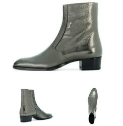 38-46 Men Real Leather Sliver Chelsea Boots Shoes Cowboy Runway Stage Cocktail L