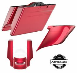 Velocity Red Sunglo Stretched Saddlebag Pinstripe Rear Fender For Harley 2014+