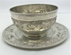 Southeast Asia, Indian Repousse Sterling Silver Bowl Dish Plate Safari Animals