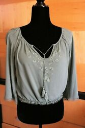 FOREVER 21 Size Small Women#x27;s Lt Green Embroidered Cotton Blend Boho Peasant Top $5.99