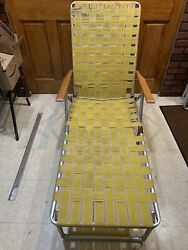 Vintage Aluminum Webbed Folding Chaise Lounge Chair Adjustable Yellow