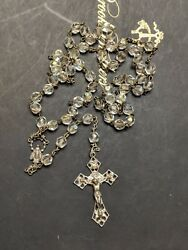 Vtg Sterling Silver Rosary Signed Ap Cap 19 Crystal Faceted Rome Vatican Beauty