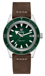 New Rado Captain Cook Automatic Green Dial Leather Band Men's Watch R32505315