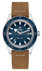 New Rado Captain Cook Automatic Blue Dial Leather Band Men's Watch R32505205